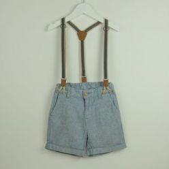 Chambray-Shorts mit Latz-Trägern